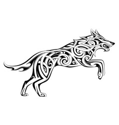 wolf tattoo celtic style vector image