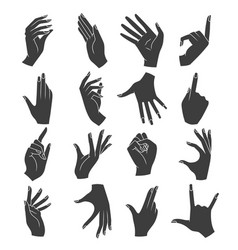woman hands gestures silhouettes vector image