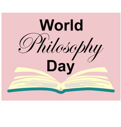 World philosophy day stack of books with open vector