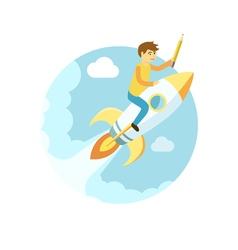 Young man flying on the rocket in the sky Flat vector