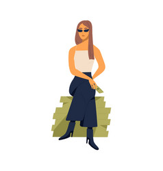 Young stylish millionaire woman sitting on large vector