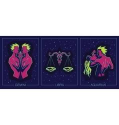 Zodiac Air Signs Gemini Libra Aquarius vector