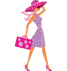 beauty travel girl with baggage vector image vector image