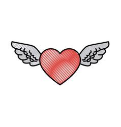 drawing romantic heart wings cute decoration vector image