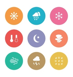 Flat design style weather icons vector image