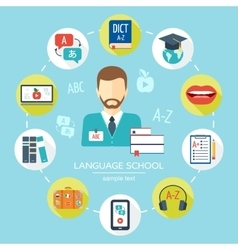Foreign language school and courses flat icon set vector