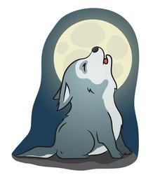 Cute little howling wolf vector