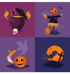 Halloween Pumpkin Cauldron and Scarecrow vector image vector image