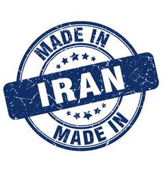 made in iran blue grunge round stamp vector image