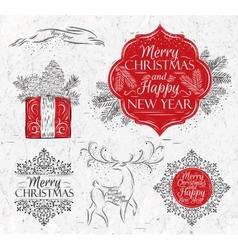 Merry Christmas graphics elegant vintage vector image vector image