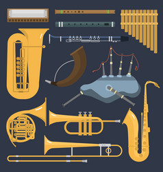 musical wind brass tube instruments isolated on vector image vector image