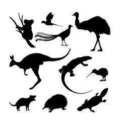 Set of black silhouettes of australian animals vector