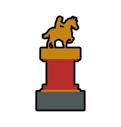 Trophy horse animal ridding sport hobby icon vector