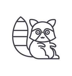 cute badger line icon sign vector image vector image