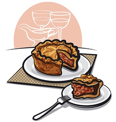 Home Baked Pork Pie vector image vector image