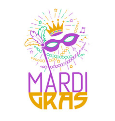 mardi gras party mask greeting card vector image