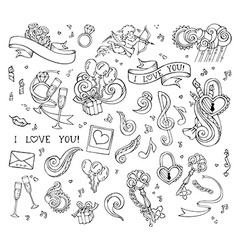 set of love linear icons isolated on white vector image vector image