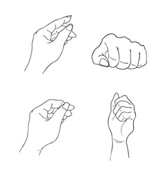 set of sketch human hand gestures on white vector image