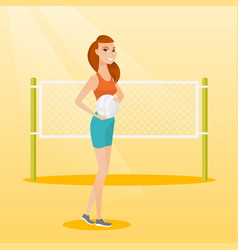 Young caucasian beach volleyball player vector