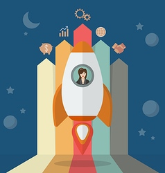 Business woman on a rocket with arrow bar chart vector image vector image