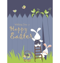 Easter bunnies and easter eggs vector image vector image