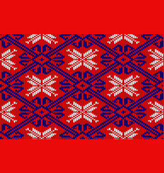 knitted pattern in national colors of norway vector image vector image
