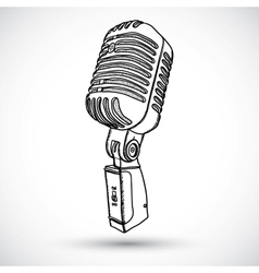 Microphone in doodle style vector image