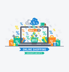 online shopping discounts and gifts vector image vector image