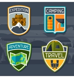Set of tourist camping badge and label vector image vector image