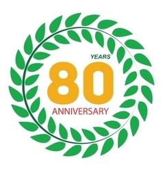 Template Logo 80 Anniversary in Laurel Wreath vector image vector image