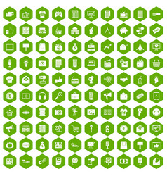 100 marketing icons hexagon green vector