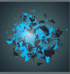abstract triangles particles with transparent vector image