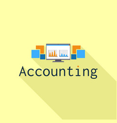 accounting computer graph logo flat style vector image