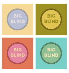 Assembly flat icons poker big blind vector