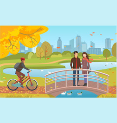 Autumn park with couple and guy riding bicycle vector
