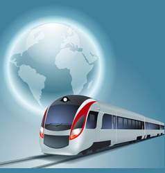 background with high-speed train and the globe vector image