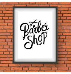 Barber Shop Sign Hanging on Red Brick Wall vector