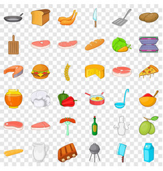 Bbq rest icons set cartoon style vector