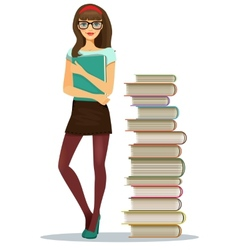 Beautiful young girl student with stacked books vector
