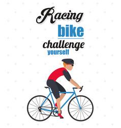 Bike racing male cartoon challenge yourself icon vector