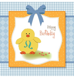 birthday card with little duck vector image