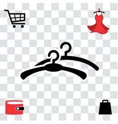 black clothes hanger icon vector image