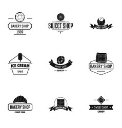 Breadmaking logo set simple style vector