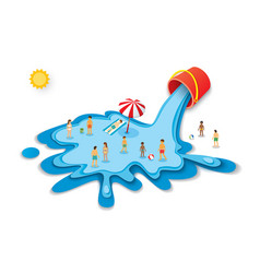 bucket and water for summer vacation concept vector image