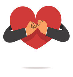 businessman hand pinky promise with heart vector image