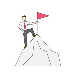 businessman on top mountain linear color vector image