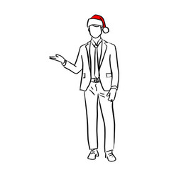 businessman with red santa hat presenting blank vector image