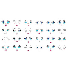 Cartoon anime characters eyes eyebrows and mouth vector