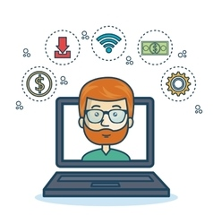 Cartoon laptop guy icons web design vector