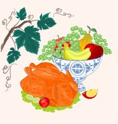 Celebratory food thanksgiving christmas celebratio vector